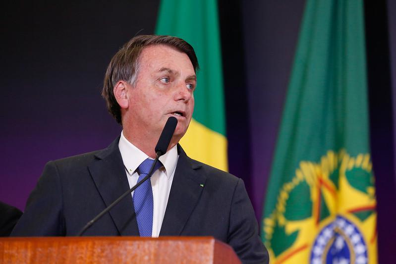 Presidente Jair Bolsonaro durante solenidade do dia do enfrentamento à violência contra as mulheres