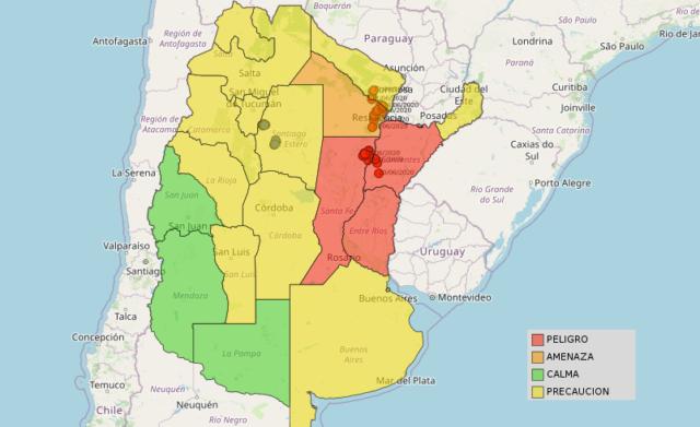 Mapa de alerta de gafanhotos