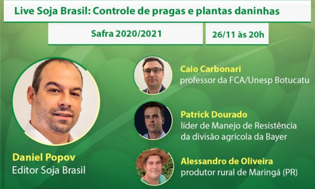 NESTA QUINTA: DEBATE SOBRE CONTROLE DE PRAGAS E PLANTAS DANINHAS NA SOJA.